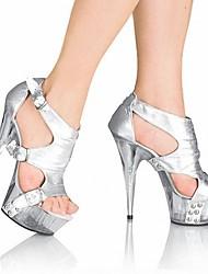 Mujer Sandalias Zapatos formales PU Verano Vestido Fiesta y Noche Cristal Hebilla Tacón Stiletto Negro Plata Rojo 12 cms y Más