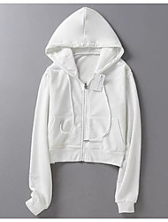 Women's Casual/Daily Simple Hoodie Solid Hooded Micro-elastic Cotton Long Sleeve Spring Fall
