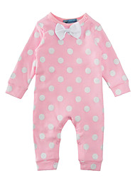 Baby Polka Dots One-Pieces Cotton Spring/Fall Winter Long Sleeve Bow Pink Girls Romper Bodysuits Infant Newborn Baby Bodysuits