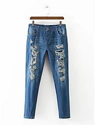 Feminino Moda de Rua Cintura Baixa Micro-Elástica Jeans Calças,Solto Sólido,rasgado Bordado