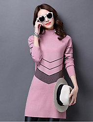 Women's Casual/Daily Long Pullover,Solid Turtleneck Long Sleeves Wool Others Fall Winter Medium Micro-elastic
