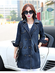 Women's Casual/Daily Simple Spring Fall Denim Jacket,Solid Square Neck Long Sleeve Long Cotton
