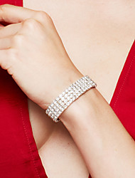 Women's Bracelet Tennis Bracelet Rhinestone Luxury Elegant Costume Jewelry Fashion Bridal Rhinestone Silver Plated Imitation Diamond