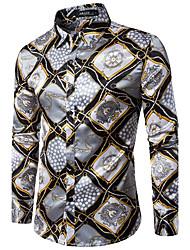 Men's Party Club Sexy Vintage Spring Fall Shirt,Print Shirt Collar Long Sleeves Cotton Medium