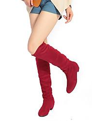Feminino Sapatos Flocagem Couro Envernizado Outono Inverno Botas da Moda Botas Salto Grosso Ponta Redonda Botas Cano Alto Com Para Casual