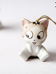 Saco / telefone / chaveiro charme gato cartoon brinquedo cerâmico