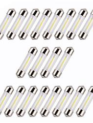 20pcs 36mm cob blanc / chaud / bleu chips c5w voiture intérieur verre lentille festoon dome lecture led dc12v