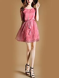 Feminino Solto Bainha Vestido,Festa Feriado Para Noite Casual Bandagem Vintage Moda de Rua Sólido Decote Redondo Acima do Joelho Meia