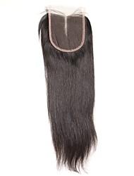 1 шт. 4x4 перуанские прямые волосы кружева ткать закрытие волосы необработанные remy волосы отбеленные узлы верхние затворы средняя часть
