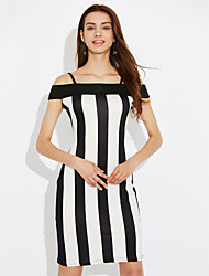 Women's Going out Club Sexy Street chic Bodycon Hin Thin Classic DressStriped Strap Above Knee Sleeveless Summer High Rise Micro-elastic Medium