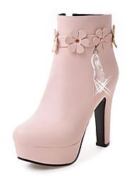 Femme Chaussures Similicuir Automne Hiver Bottes à la Mode Botillons Bottes Gros Talon Plateforme Bout rond Bottine/Demi Botte Avec