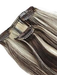 22 pouces en soie droite 7 pièces 70g clip en haut remy extensions de cheveux humains clip dans les cheveux