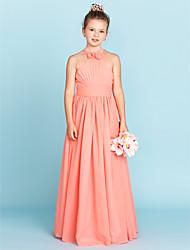 A-Linie Prinzessin Halter Boden-Länge Chiffon Junior-Brautjungferkleid mit Blume(n) Mit Bändern und Schleifen durch LAN TING BRIDE®
