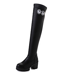 Women's Shoes PU Fall Winter Comfort Boots Chunky Heel Thigh-high Boots With For Casual Black