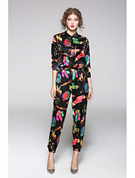 JOJO HANS Women's Casual/Daily Simple Fall Shirt Pant SuitsSolid Print Shirt Collar Long Sleeve