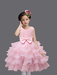 Princess Knee Length Flower Girl Dress - Organza Satin Sleeveless Jewel Neck with Satin Bow Flower(s) by Baihe