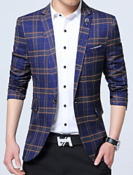 Men's Plus Size Work Simple Fall Winter Blazer,Plaid V Neck Long Sleeve Regular Cotton