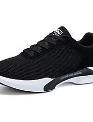 Hombre Zapatillas de Atletismo Confort Primavera Otoño Tul Paseo Deportivo Con Cordón Tacón Plano Negro Azul Oscuro Gris oscuro Plano