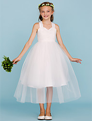 Ball Gown Straps Tea Length Lace Tulle Junior Bridesmaid Dress with Bow(s) by LAN TING BRIDE®