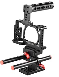 andoer câmera de vídeo protetora kit de gaiola liga de alumínio inclui manípulo superior / 2pcs haste 15mm / placa de base para sony a6000