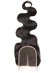 1 шт. 4x4 бразильское тело волна кружево ткать закрытие волосы необработанные remy волосы отбеленные узлы верхние затворы средняя часть