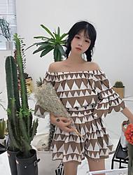 Mujer Simple Casual/Diario Verano T-Shirt Pantalón Trajes,Escote Barco Estampado Manga Tres Cuartos Microelástico