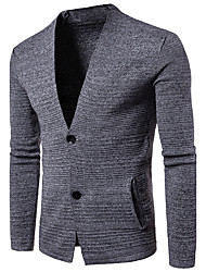 Men's Going out Casual/Daily Simple Regular Cardigan,Solid V Neck Long Sleeves Cotton Spring Fall Medium Stretchy