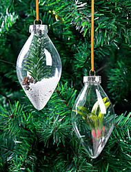 10Pcs/Set   Christmas Tress Decorations Ball   Transparent  Plastic  Decoration  Ball  Ornament  Random