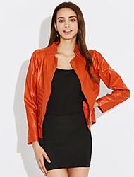 Осень Кожаные куртки Воротник-стойка,Уличный стиль Однотонный Черный / Оранжевый Длинный рукав,Полиуретановая,Средняя