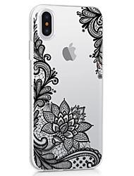 Назначение iPhone X iPhone 8 iPhone 8 Plus Чехлы панели Ультратонкий Прозрачный С узором Задняя крышка Кейс для Кружева Печать Цветы