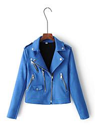 Для женщин На выход На каждый день Весна Осень Кожаные куртки Рубашечный воротник,Простой Уличный стиль Однотонный Обычная Длинный рукав,