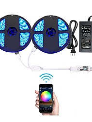 Wifi Wireless Smart Phone Controlled Led Strip Light with DC12V Power Supply Waterproof 5050 (2X5M) 600leds RGB Timer Work with Android IOS and  Alexa