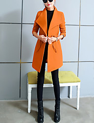 Women's Casual/Daily Work Simple Fall Winter Coat,Solid Shirt Collar Long Sleeve Regular Polyester