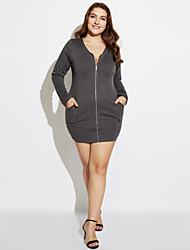 Robe Aux femmes Grandes Tailles Grandes Tailles / Décontracté Au dessus du genou Coton