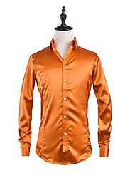 Men's Party Casual/Daily Simple Street chic Fall Shirt,Solid Shirt Collar Long Sleeves Spandex Medium