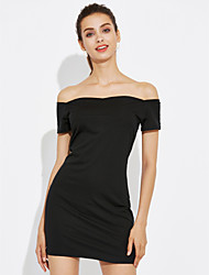 Women's Going out Simple A Line Dress,Solid Boat Neck Above Knee Sleeveless Cotton Summer Mid Rise Micro-elastic Medium