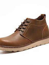 Men's Boots Combat Boots Fall Winter PU Casual Flat Heel Khaki Brown Black Flat