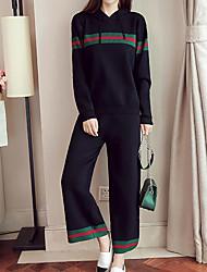 Sweat à capuche Pantalon Costumes Femme,Couleur Pleine Décontracté / Quotidien Grandes Tailles simple Automne Manches longues