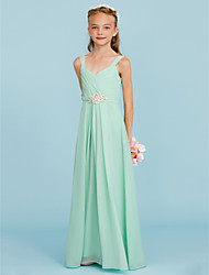 Sheath / Column Straps Floor Length Chiffon Junior Bridesmaid Dress with Criss Cross Crystal Brooch by LAN TING BRIDE®