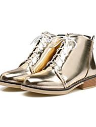 Mujer Zapatos PU Otoño Invierno Confort Innovador Botas de Moda Botas hasta el Tobillo Botas de Combate Botas Tacón Plano Dedo redondo