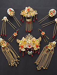 Rhinestone Alloy Headpiece-Wedding Hair Combs Flowers Hair Clip Hair Pin Hair Stick 6 Piece
