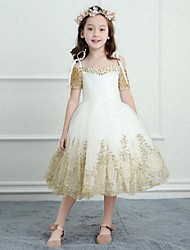 A-Line Tea Length Flower Girl Dress - Satin Tulle Short Sleeves Spaghetti Straps with Beading Appliques by Yiranmei