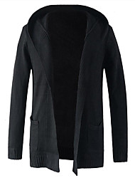 Men's Casual/Daily Simple Regular Cardigan,Solid Hooded Long Sleeves Cotton Polyester Spring Fall Medium Micro-elastic