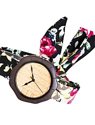 Mujer Reloj de Moda Reloj Madera Japonés Cuarzo de madera Tejido Banda Encanto Elegantes Creativo Negro Rose