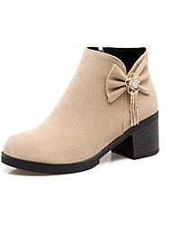 Women's Shoes Nubuck leather Fall Winter Gladiator Fashion Boots Boots Chunky Heel Round Toe Booties/Ankle Boots Bowknot For Casual