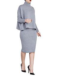 Gaine Robe Femme SoiréeCouleur Pleine Col Arrondi Midi Manches Longues Coton Printemps Taille Normale Micro-élastique Fin