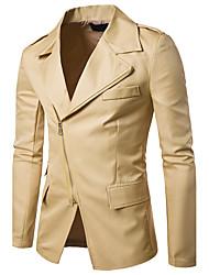 Для мужчин На каждый день Офис Весна Осень Блейзер Рубашечный воротник,Простой Секси Шинуазери (китайский стиль) Однотонный Обычная