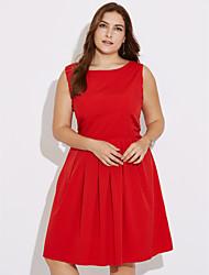 Mujer Línea A Vestido Fiesta Noche Tallas Grandes Vintage,Un Color Escote Redondo Hasta la Rodilla Sin Mangas Poliéster Verano Tiro Alto