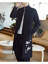 Для мужчин На каждый день Осень Тренч Воротник-стойка,Шинуазери (китайский стиль) С принтом Длинная Длинный рукав,Другое