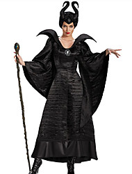 Cosplay Costumes Party Costume Wizard/Witch Fairytale Cosplay Maleficent Festival/Holiday Halloween Costumes Black Solid Color Dresses